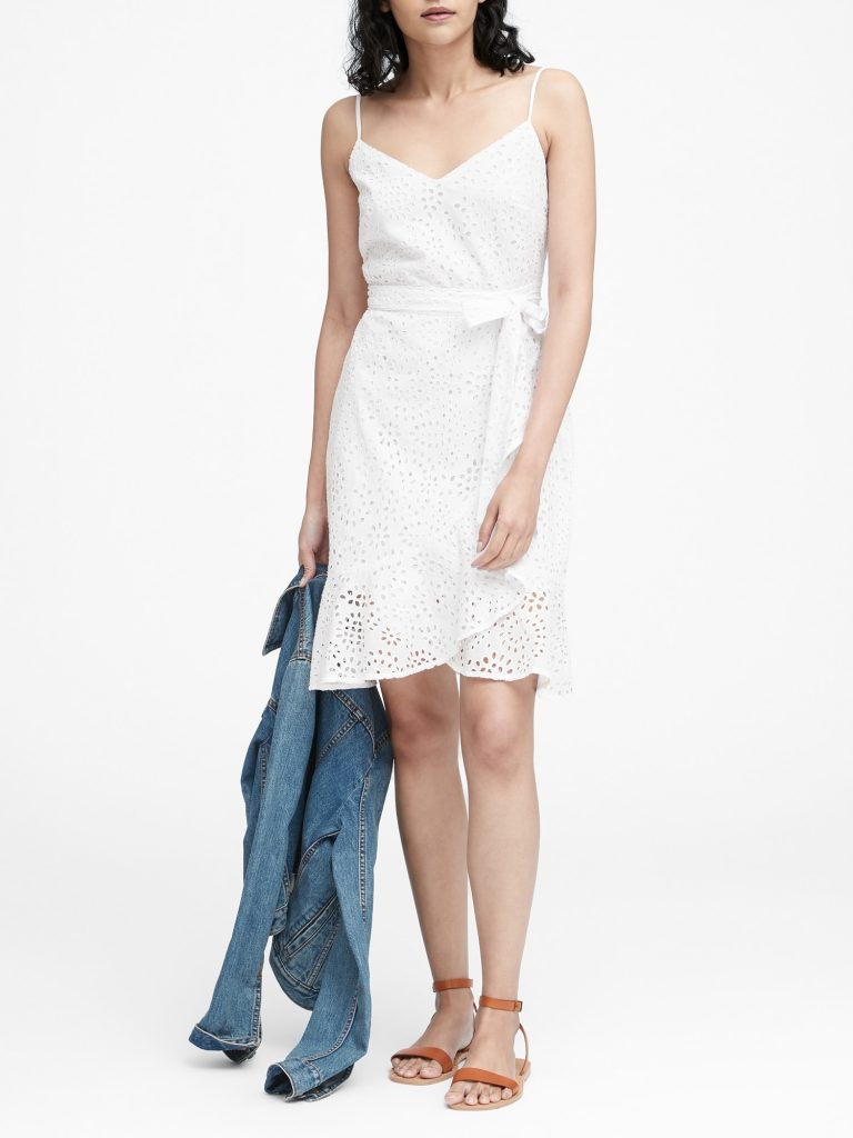 Eyelet Ruffle Wrap Dress