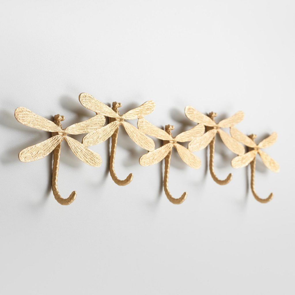Gold Dragonfly Wall Hook Rack