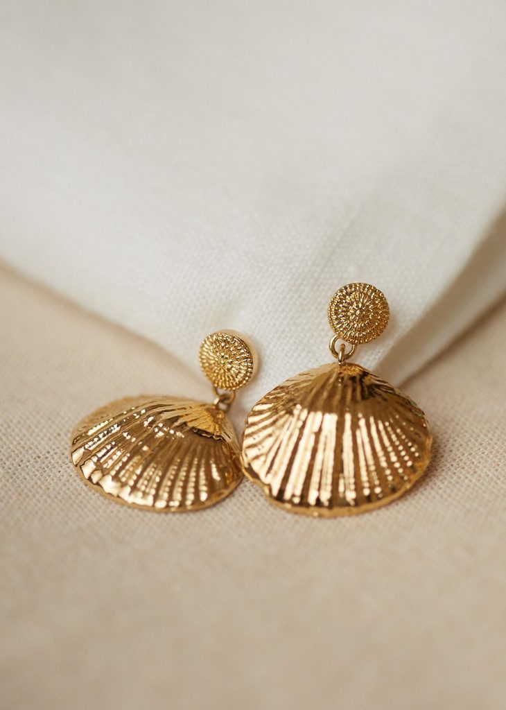 Gold Plated Sea Shell Earrings