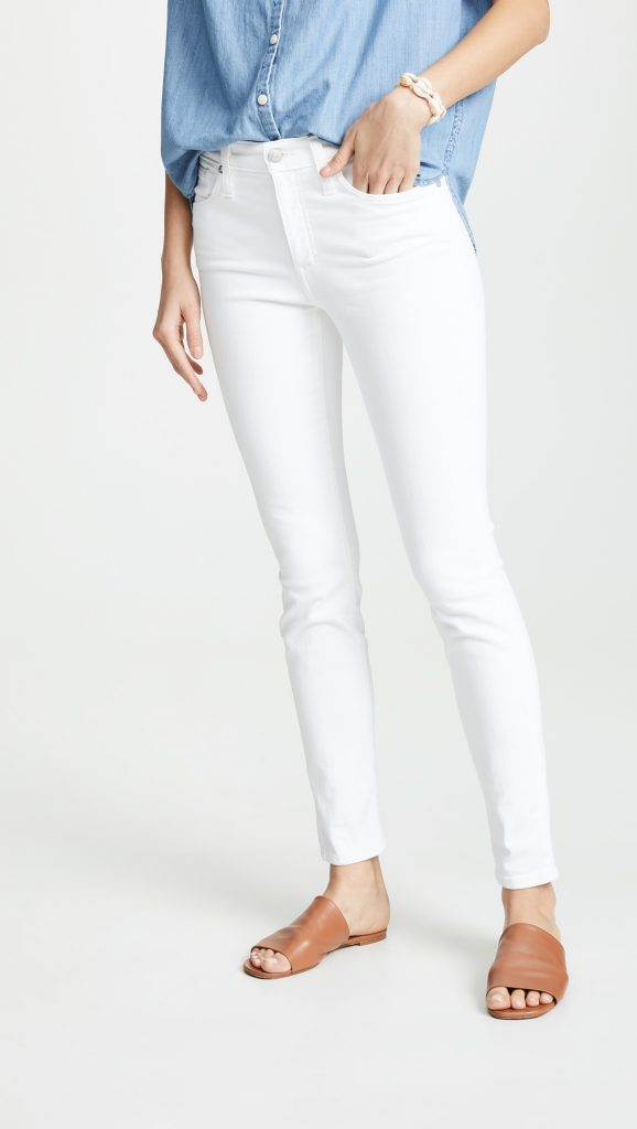 White High Rise Skinny Stretch Jeans