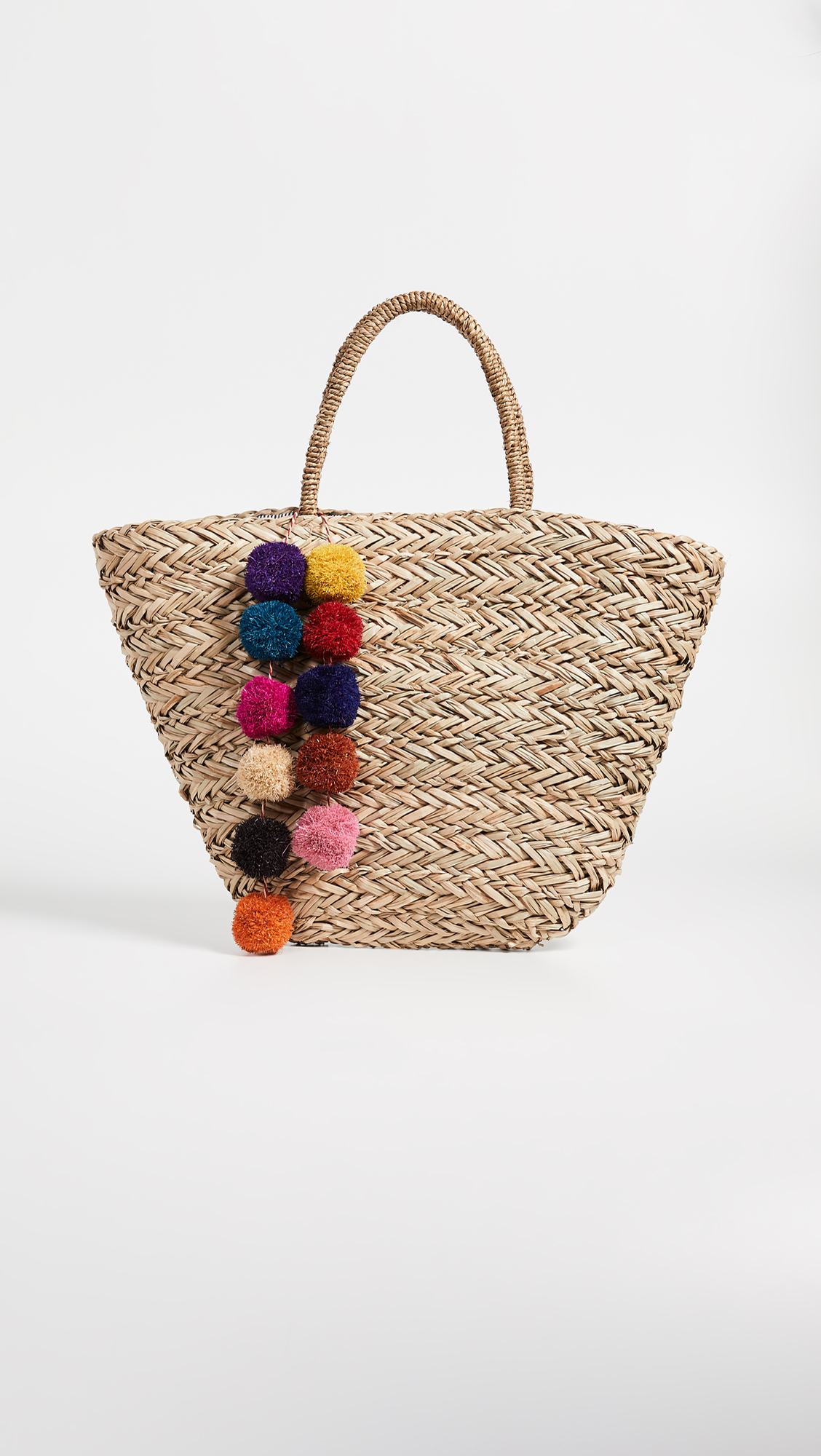 Straw Tote with Multicolor Pom Poms