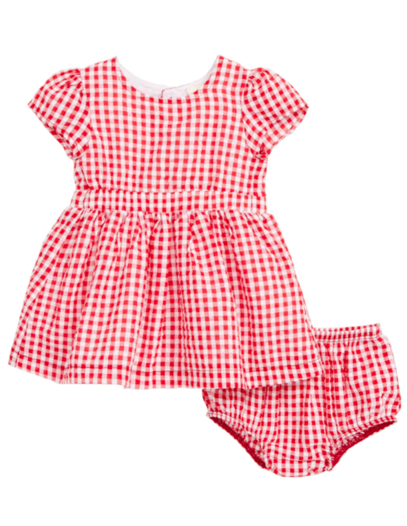 Red and White Gingham Baby Dress and Bloomer Set for Girls