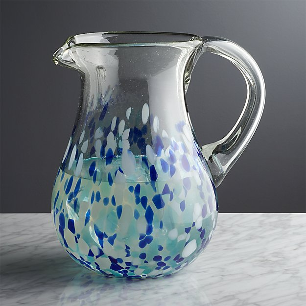 Speckled Blue Glass Pitcher