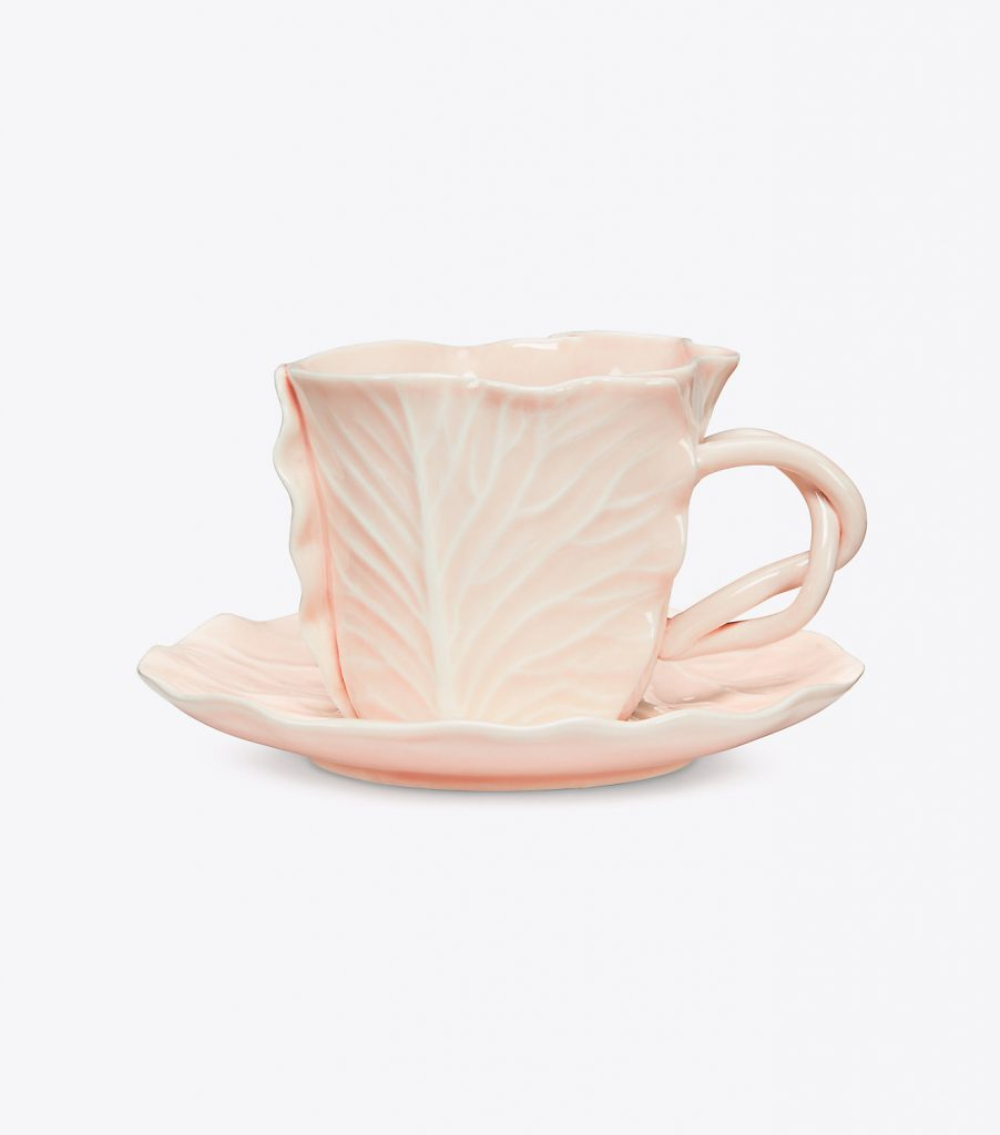 Tory Burch Dodie Thayer Lettuce Ware Pink Teacup and Saucer