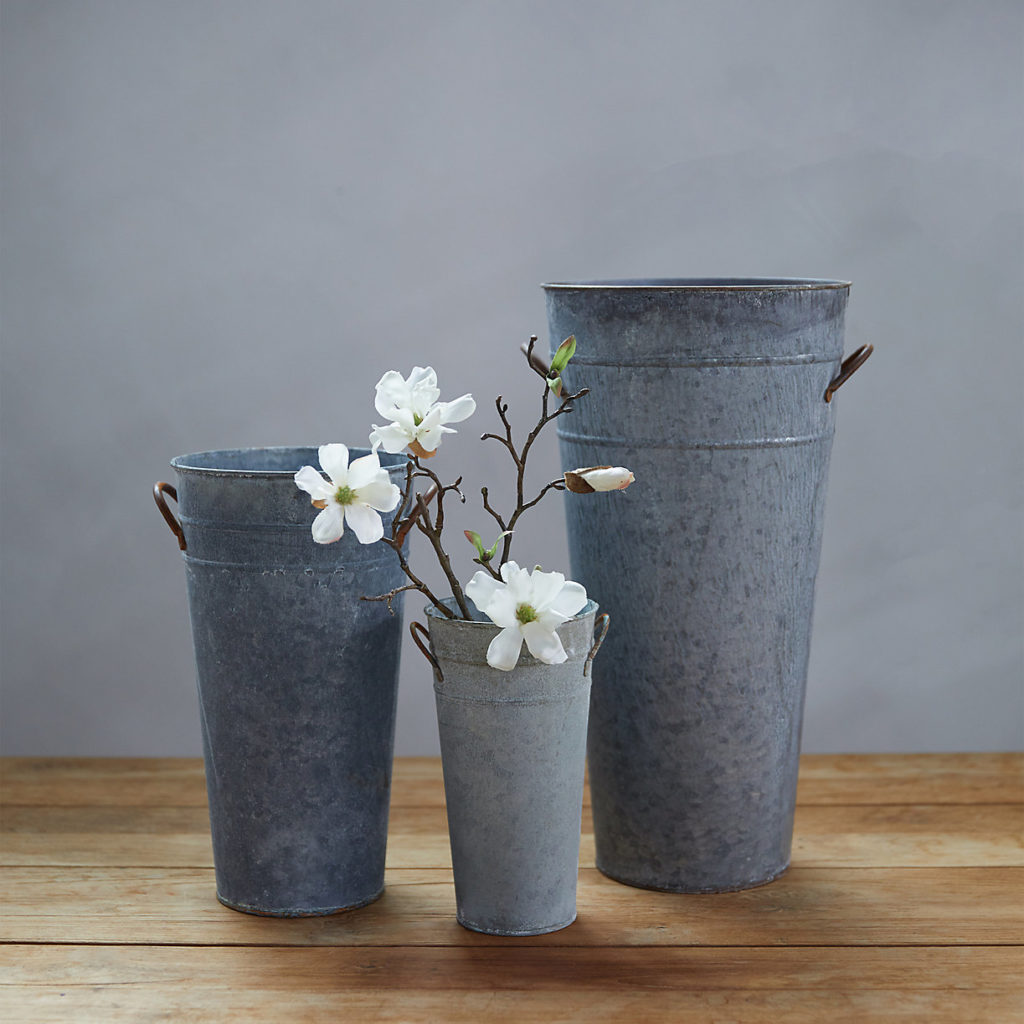 Aged Zinc Flower Vases Tall