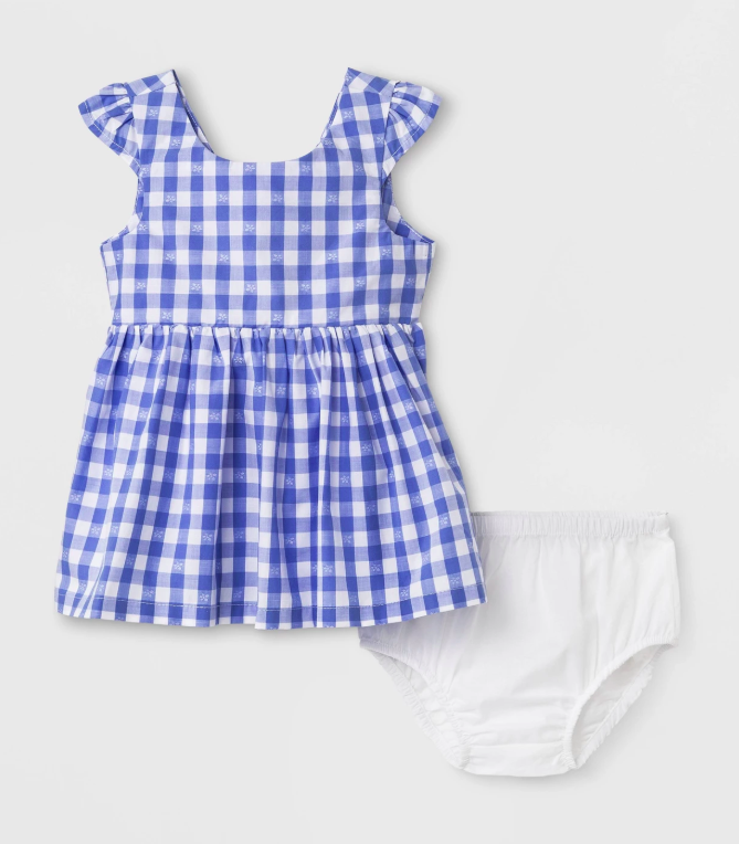 Gingham Dress Bloomers Blue and White Baby Girl