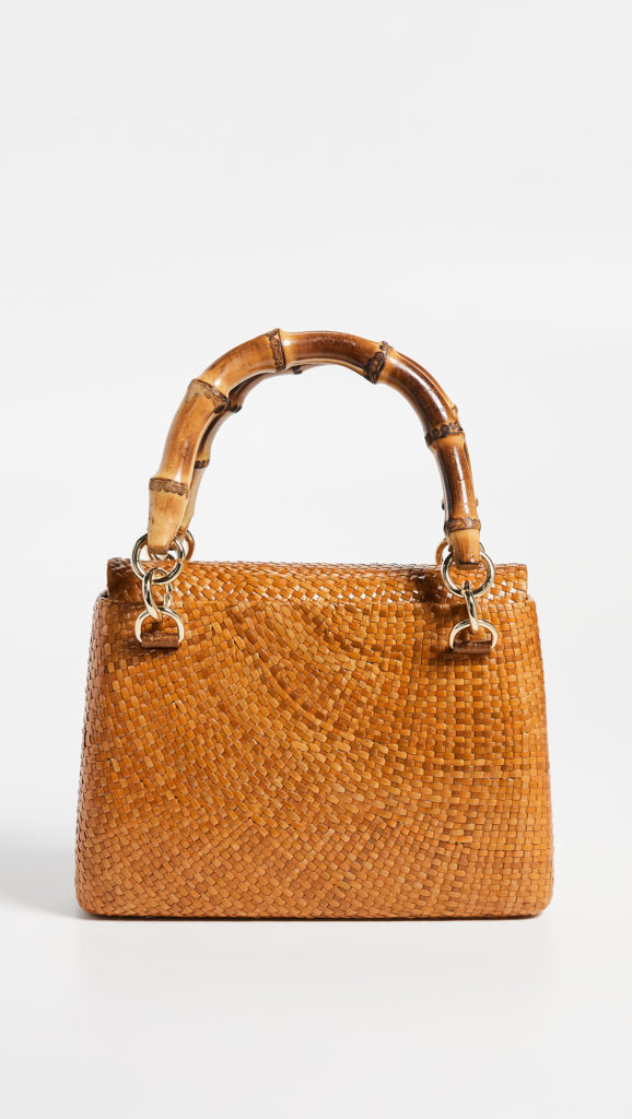 Bamboo Handle Woven Bag