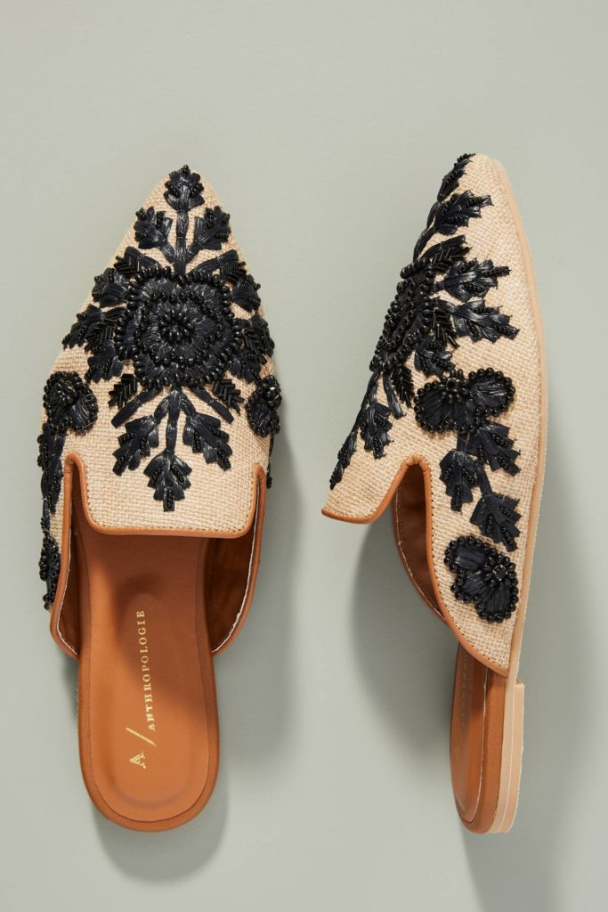 Beaded Floral Mules