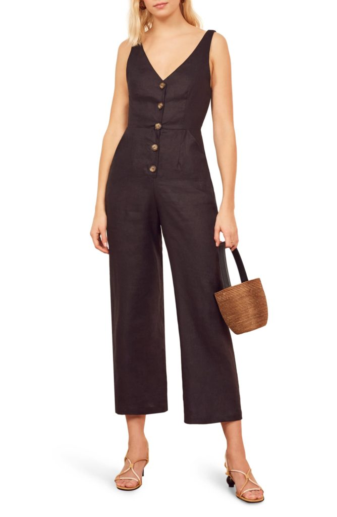 Black Button Front Sleeveless Jumpsuit