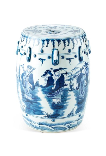Blue and White Chinese Garden Stool Ceramic
