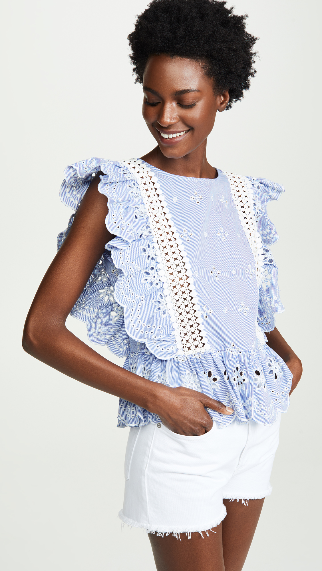 Blue and White Eyelet Ruffle Blouse