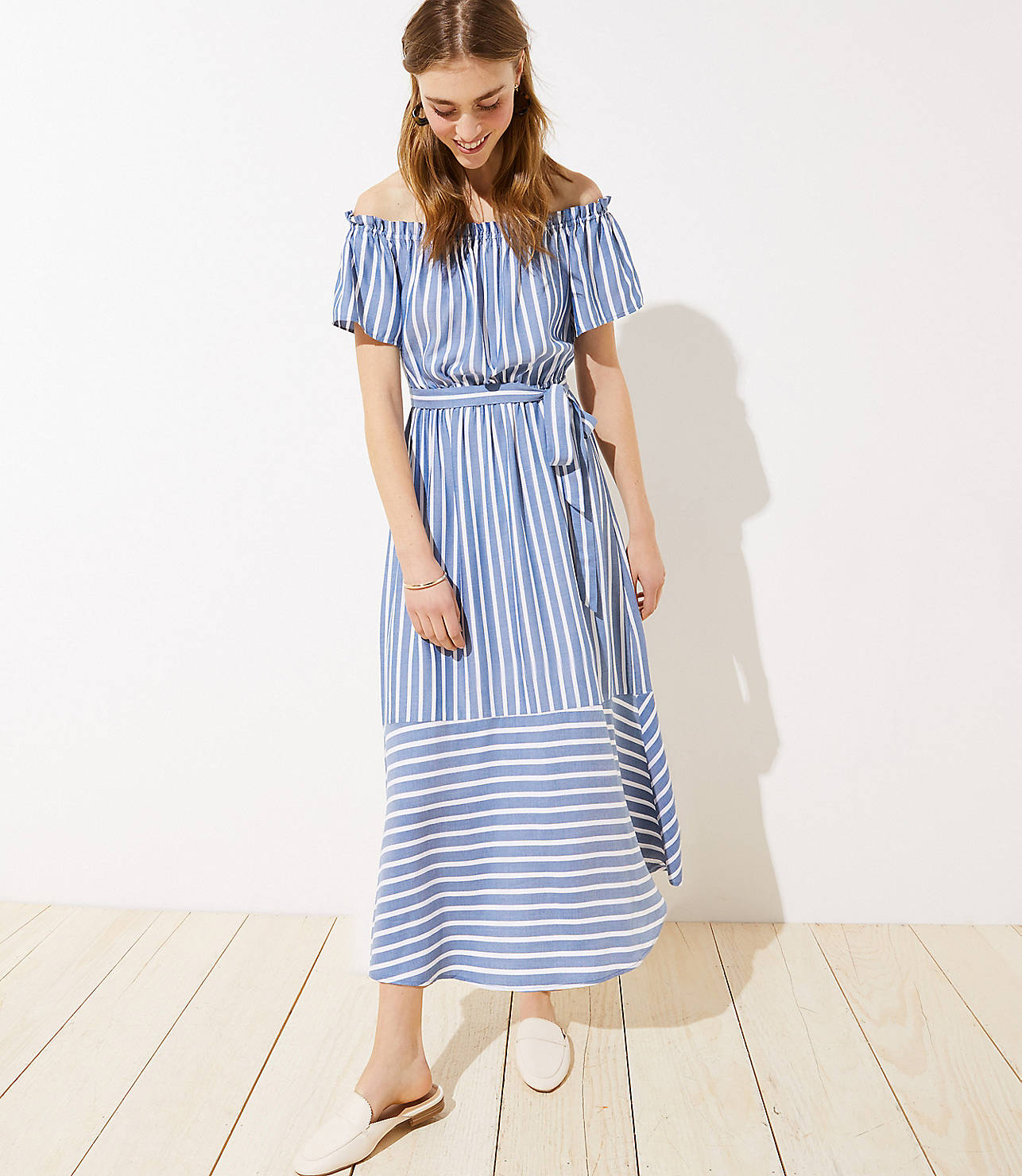Blue White Stripe Off-the-Shoulder Maxi Dress