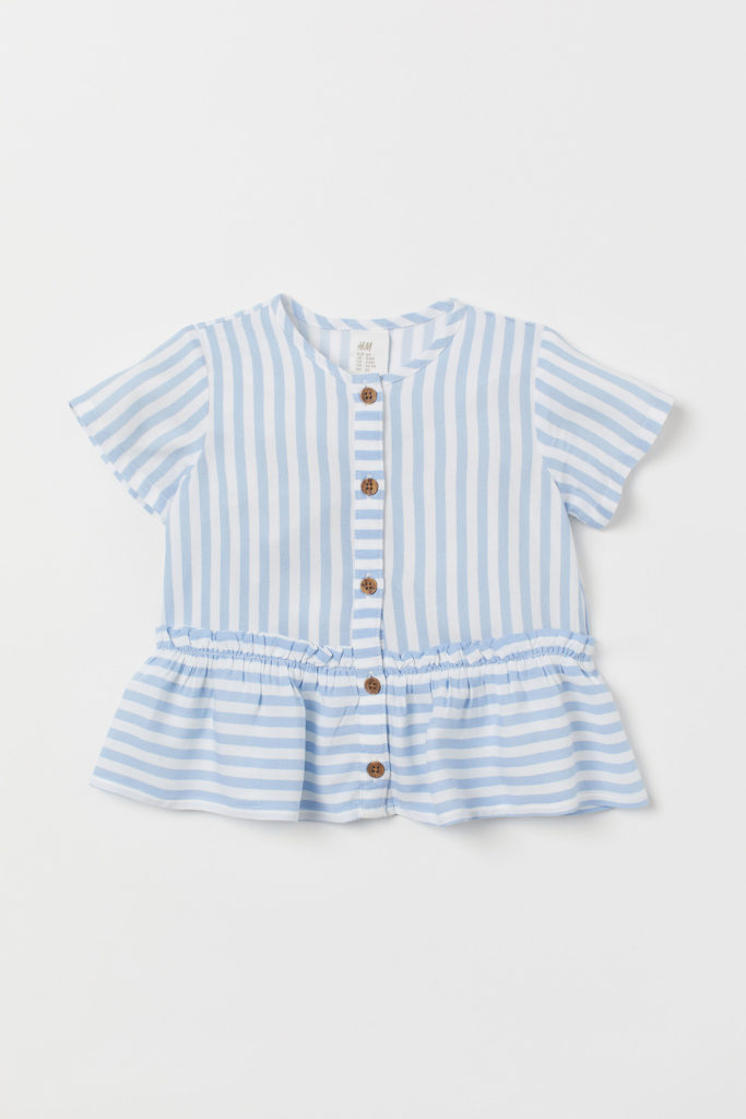 Blue and white stripe top girls'