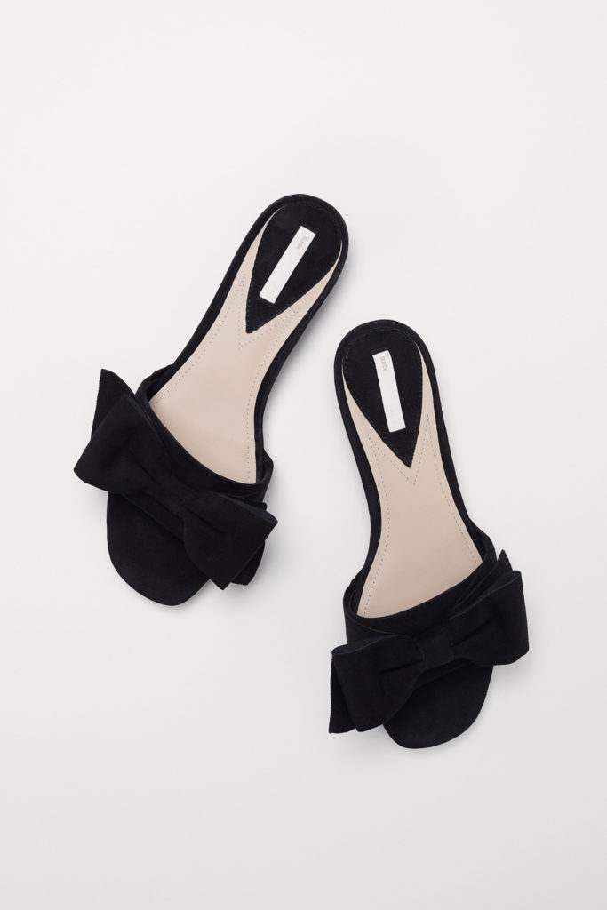 Black Suede Bow Slide Sandals
