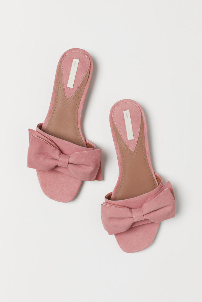 Pink Suede Bow Slide Sandals