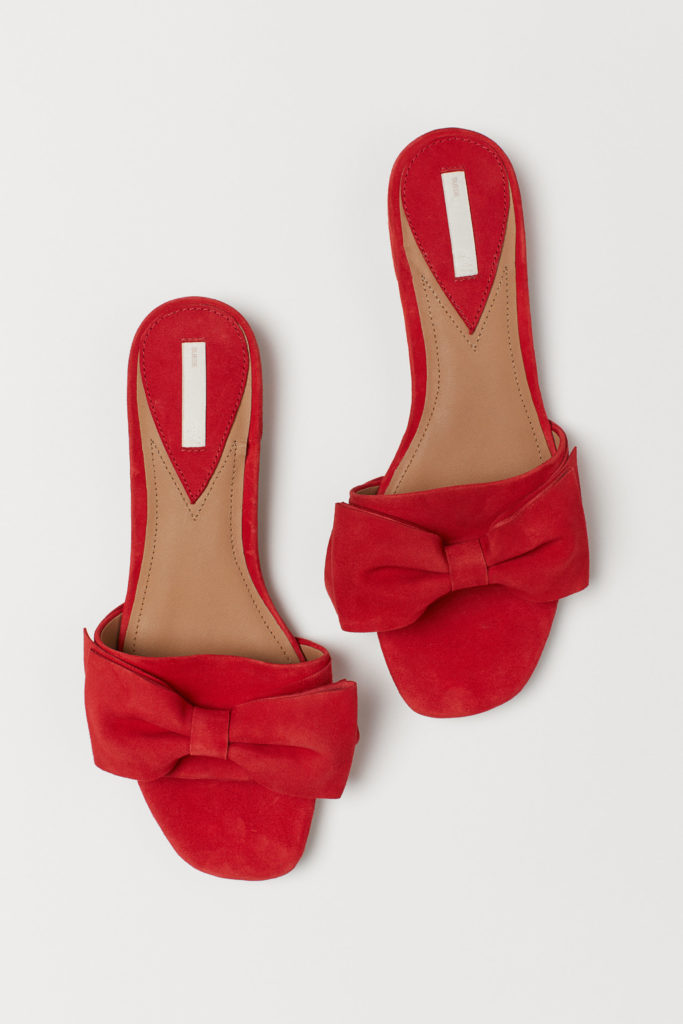 Red Suede Bow Slide Sandals