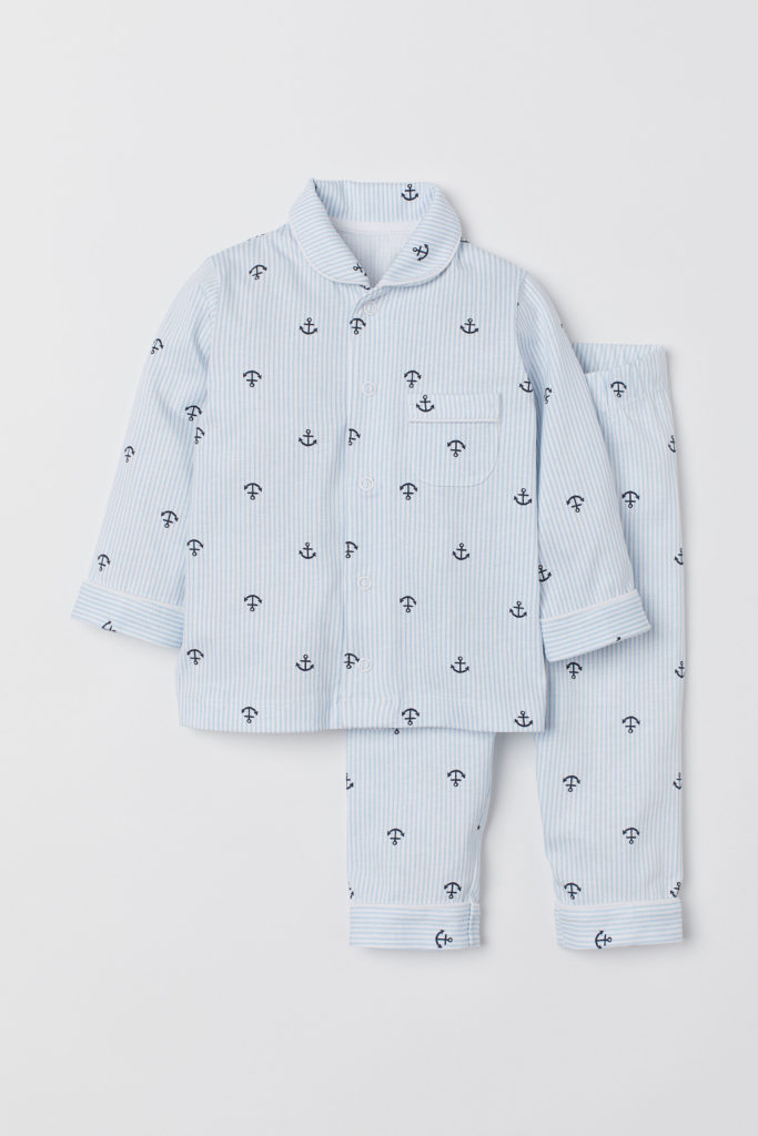 Anchors Pajama Set Boys' Blue and White Pinstripe