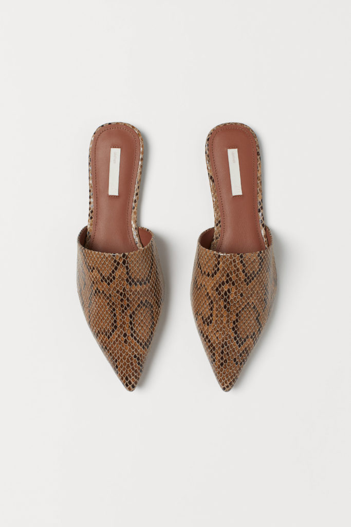 Snakeskin Pointed Mules