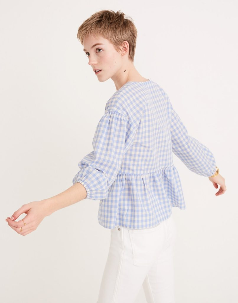 Gingham Check Bubble-Sleeve Peplum Top