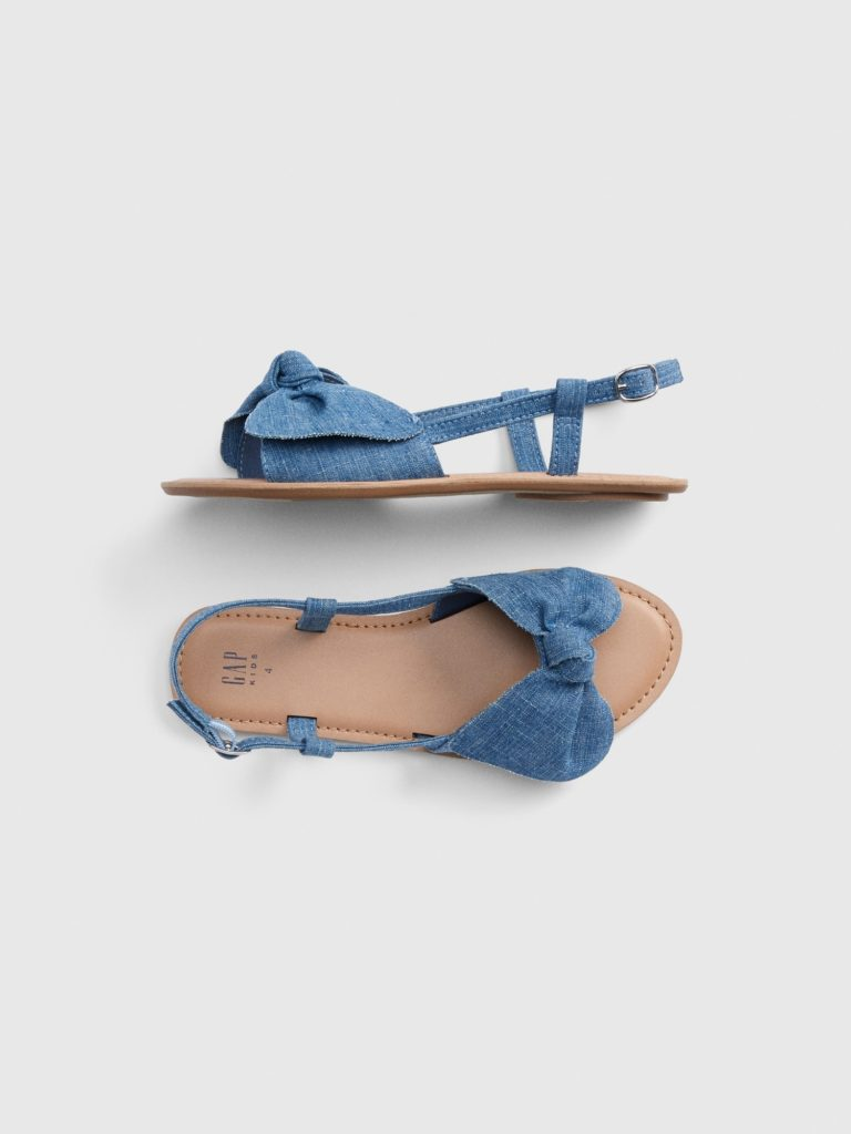 Girls' Chambray Bow Sandals