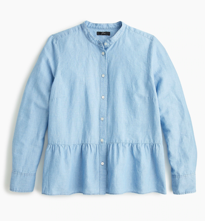 Chambray Button-Up Shirt with Peplum