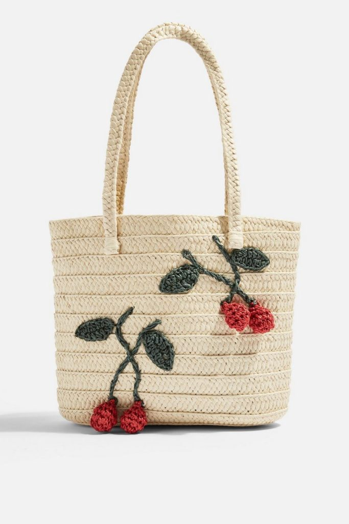 Cherry Straw Tote Bag