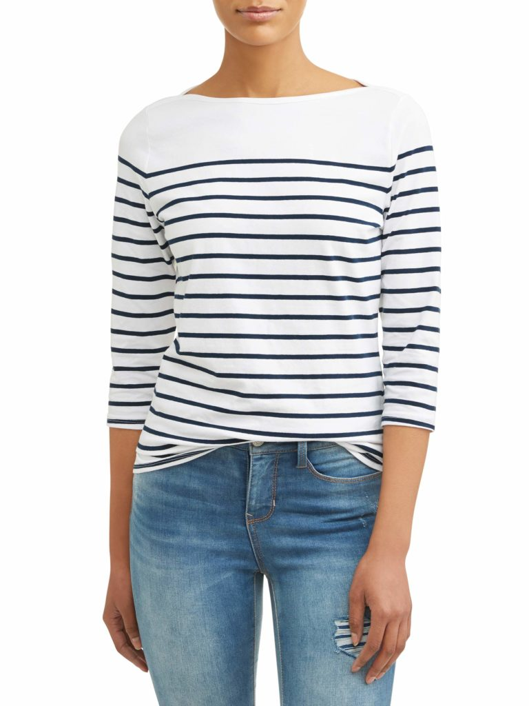 Classic Boatneck Stripe Top Blue and White