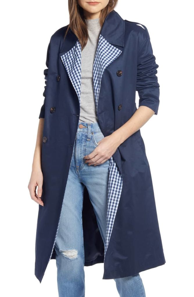 Gingham Lined Navy Blue Trench Coat