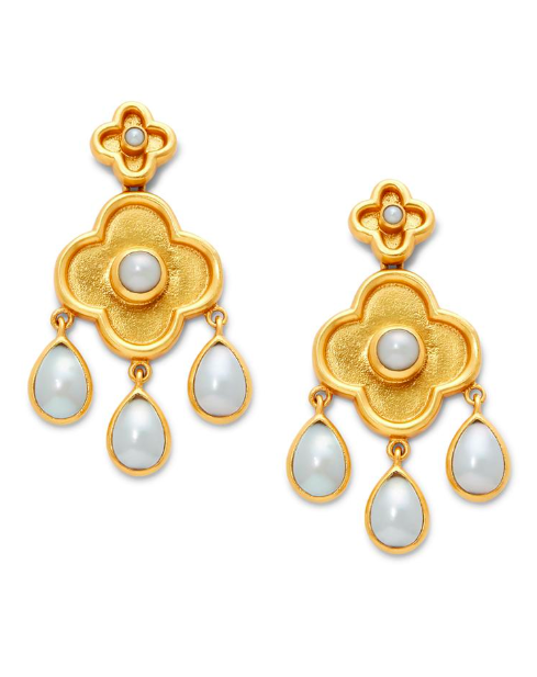 Daphne Pearl Chandelier Earrings Yellow Gold