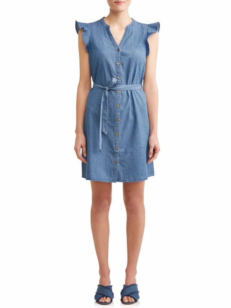 Denim Flutter Sleeve Belted Shirt Dress