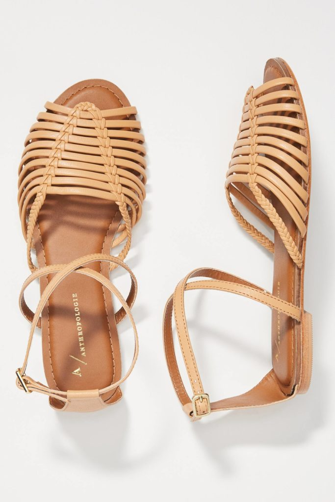 Edie Woven Brown Leather Sandals