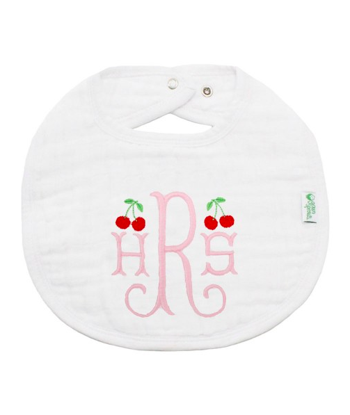 Monogrammed Bib with Cherries for Baby