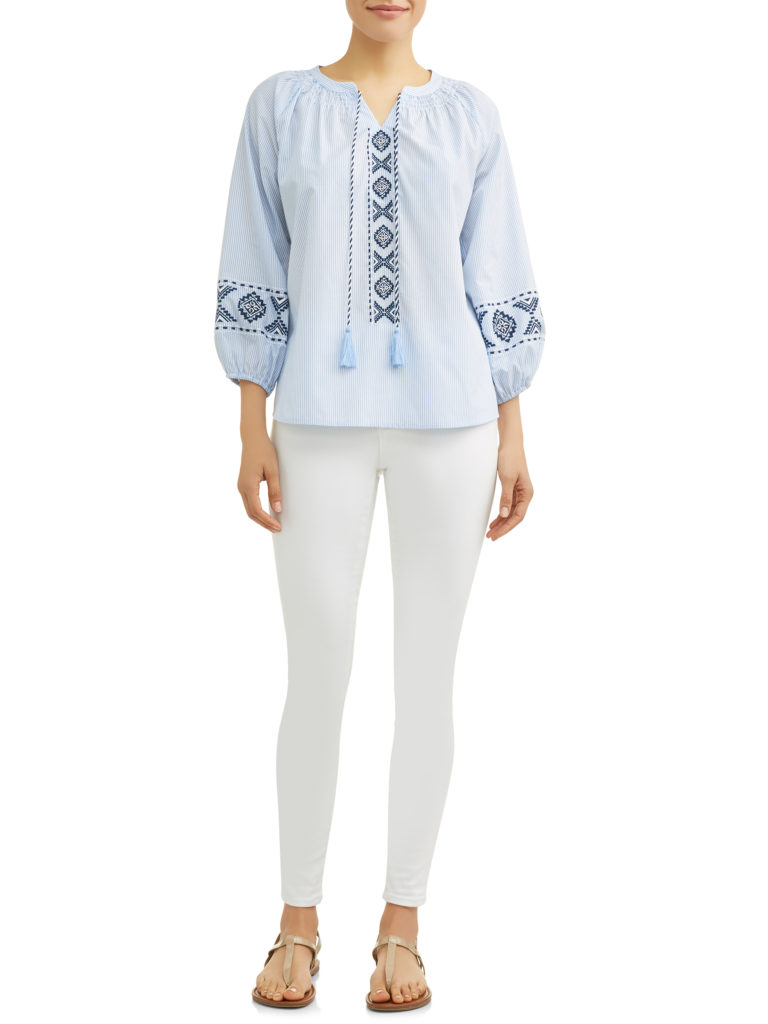 Embroidered Smock Neck Top Blue and White with Tassels