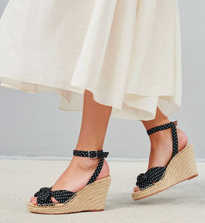 Polka Dot Espadrille Wedge Sandals Black and White