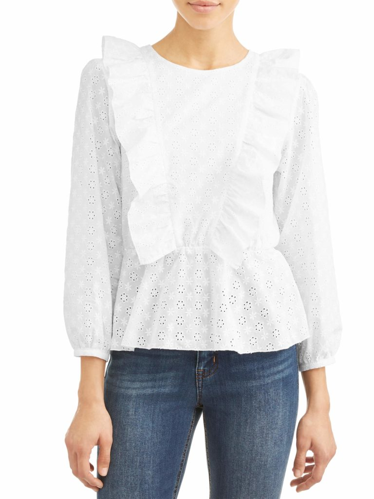 Eyelet Ruffle Cinched Waist Top