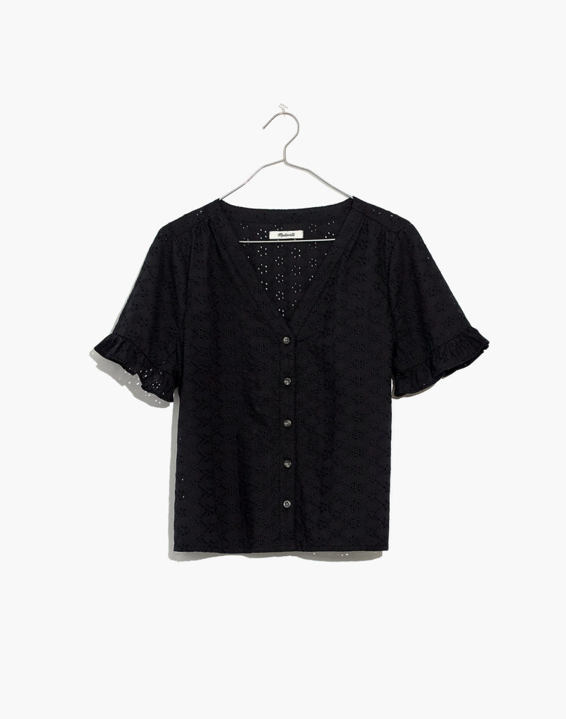 Eyelet Ruffle Sleeve Shirt Black