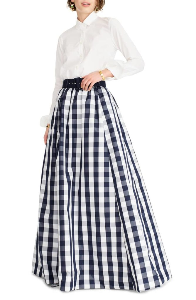 Gingham Belted Taffeta Ball Skirt Navy Blue and White