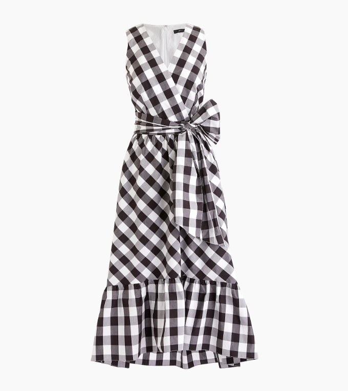 Gingham Wrap Dress Black and White with Bow