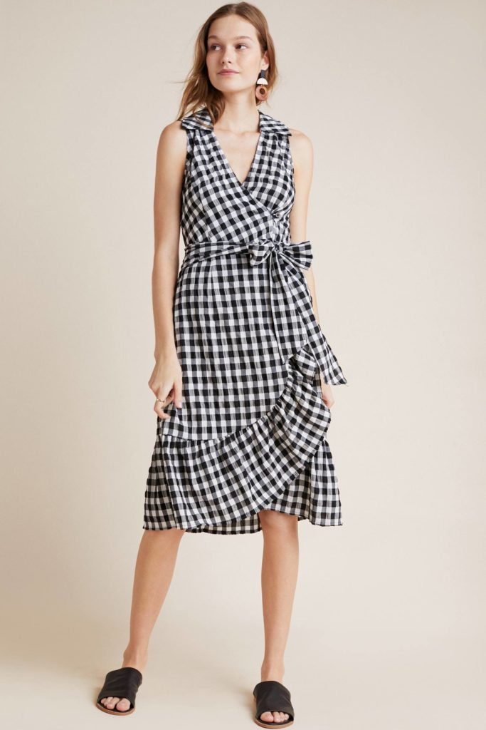 Gingham Wrap Ruffle Skirt Black and White Plaid