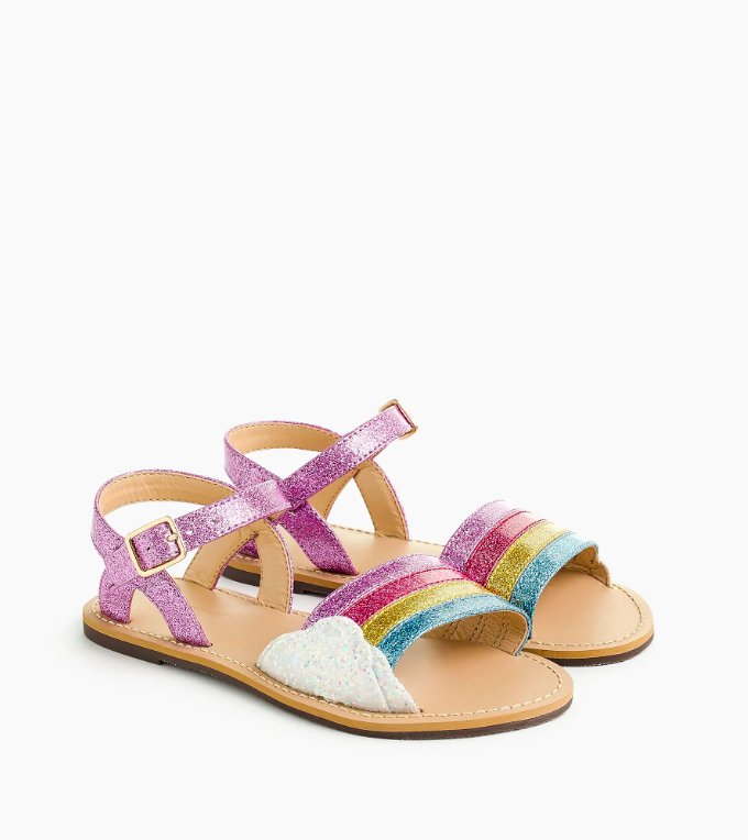 Girls' Glitter Rainbow Sandals