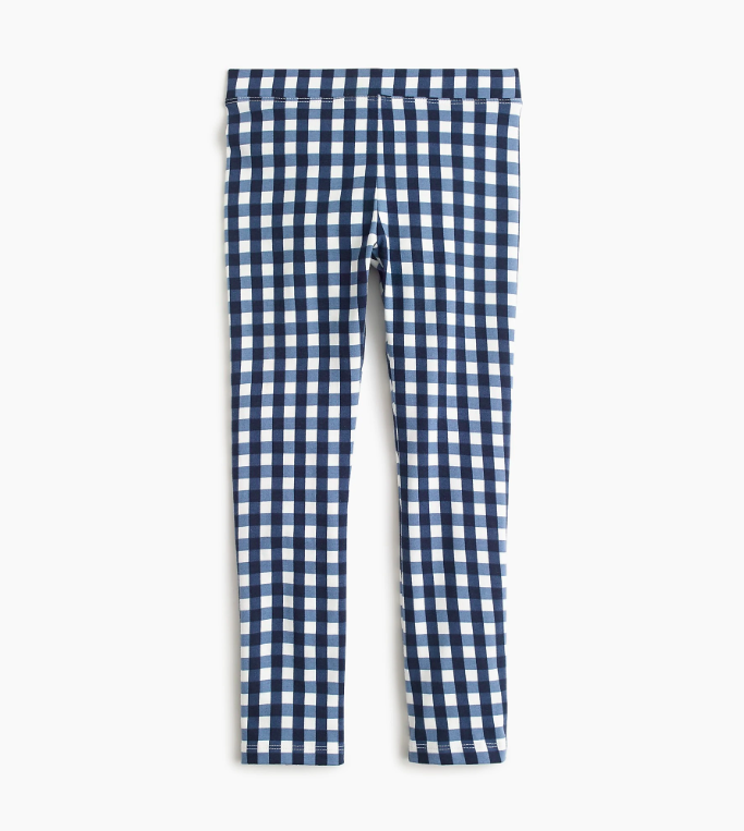Girls' Gingham Leggings Blue and White