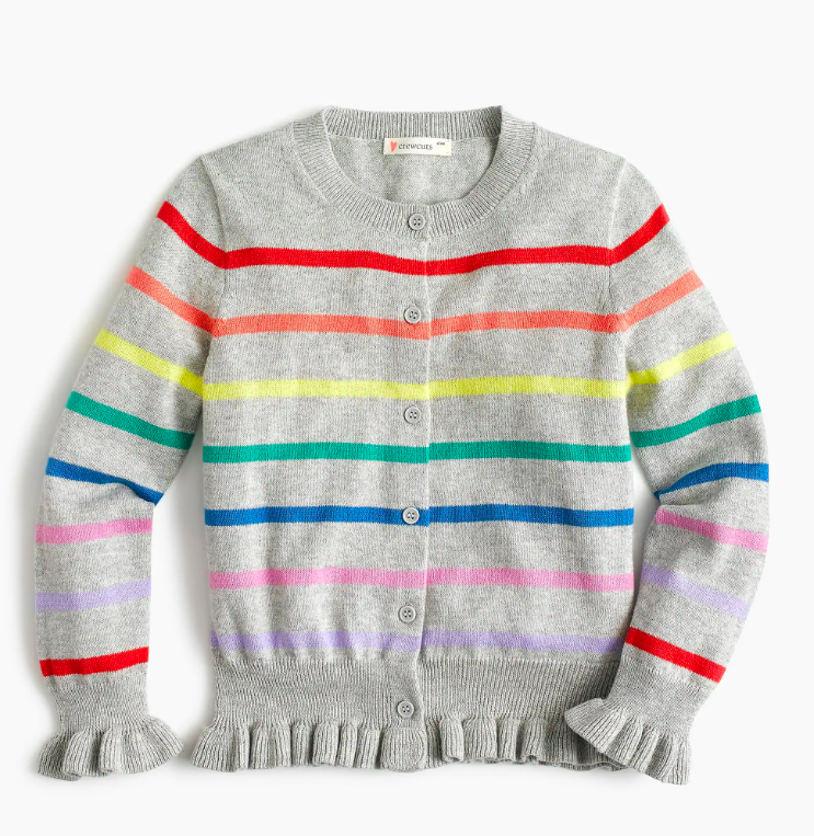 Girls' Rainbow Stripe Cardigan Sweater