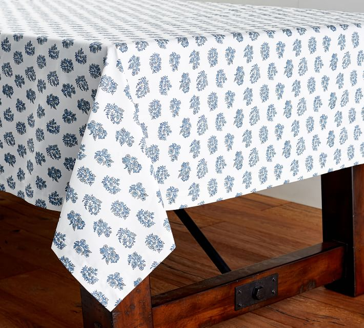 Blue and White Block Print Oil Cloth Tablecloth