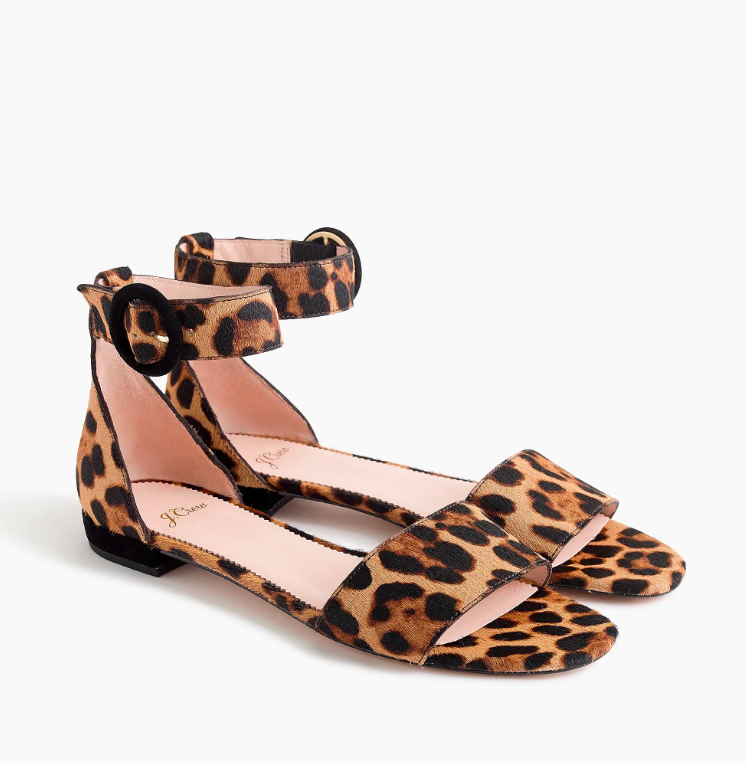 Leopard Calf Hair Flat Sandals