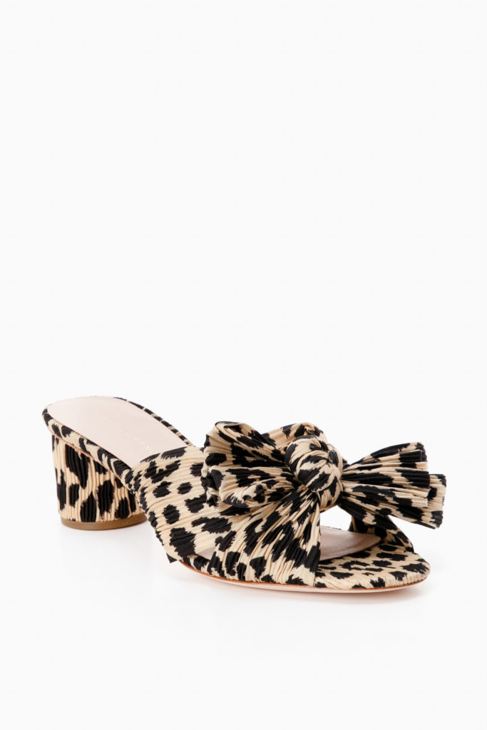 Leopard Knotted Pleated Slides