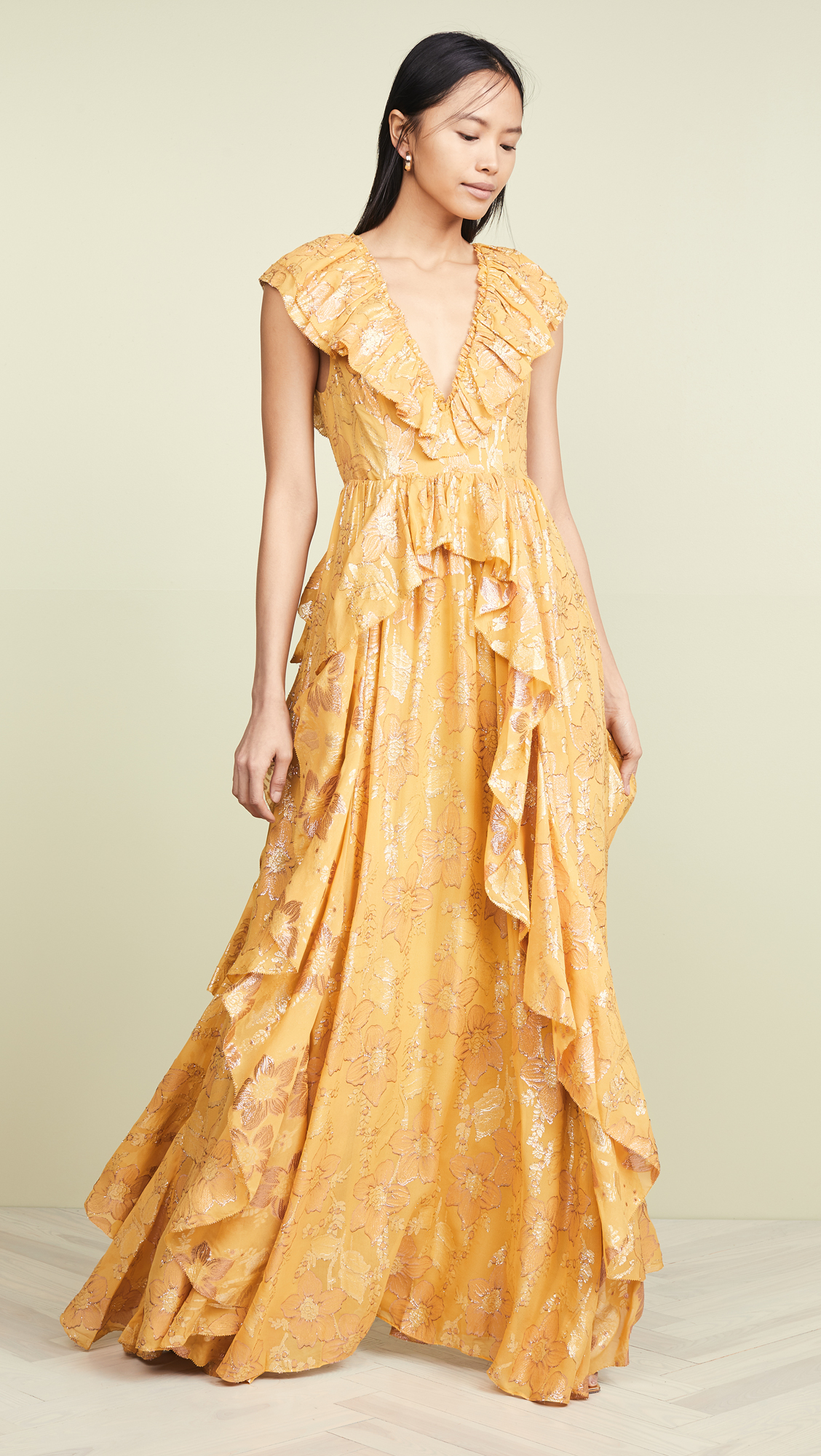 Metallic Flower Crepe Yellow Gown Ulla Johnson Maxi Dress