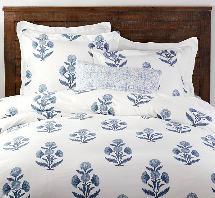 Mughal Flower Duvet Cover and Pillow Shams Blue and White Indian