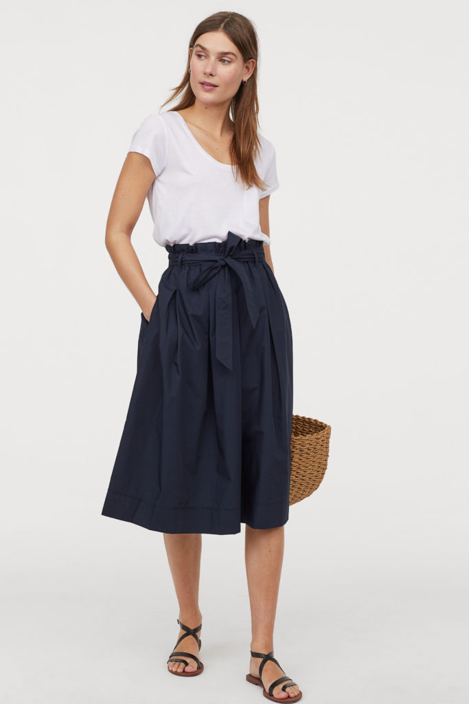 Navy Blue Calf Length Skirt Bow Waist A-Line