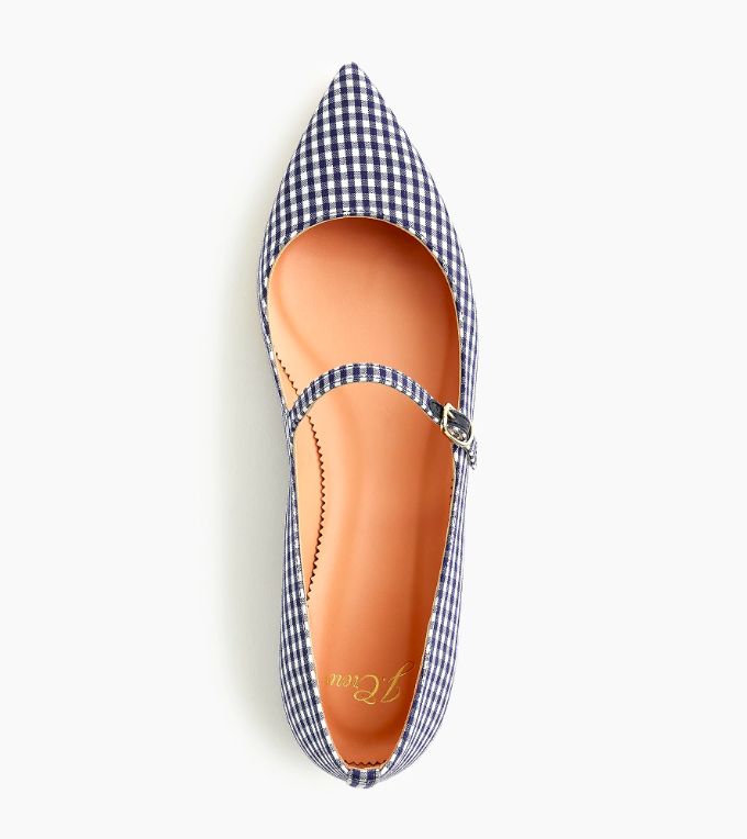 Navy Blue Gingham Pointed Toe Mary Jane Flat