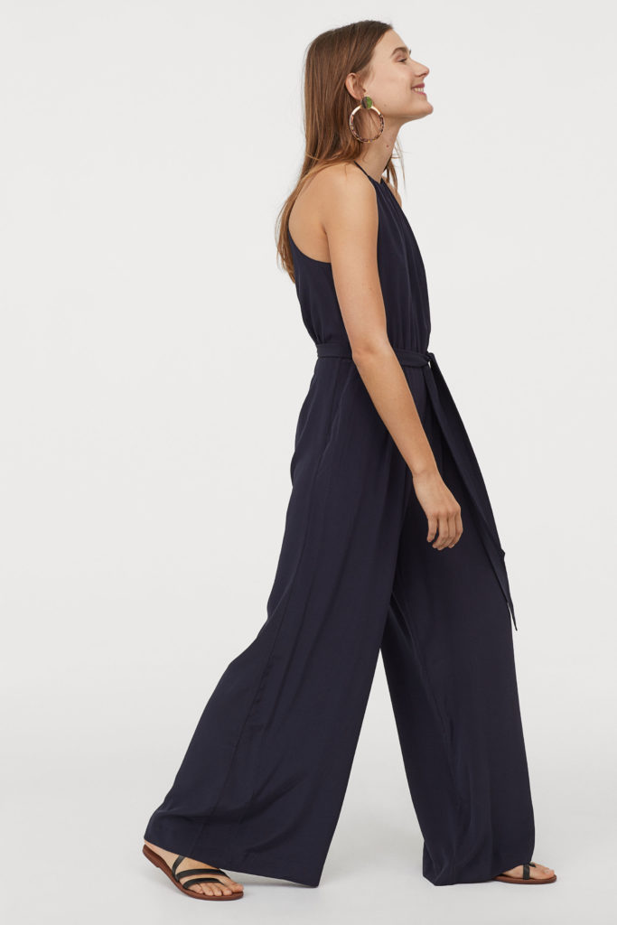 Navy Blue Silk Jumpsuit